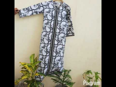 Indian Printed Cotton Long A Line Kurti