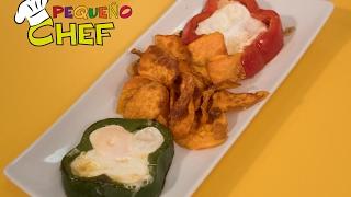 Como prepara flor de pimiento con huevo frito con los peques