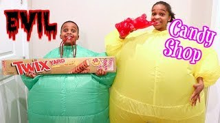 Bad Baby GIANT Candy Shop - Evil Greedy Granny In Real Life - Shasha And Shiloh - Onyx Kids
