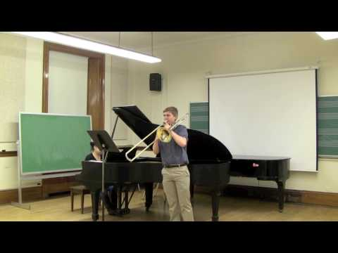 "A video of me performing the 1st movement from Launy Grondahl's ""Concerto for Trombone"" with Priscila Yuen at the piano."