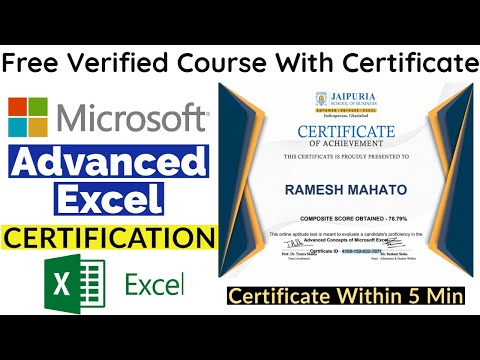 Microsoft Excel Free Certification | Advanced Excel Certification ...
