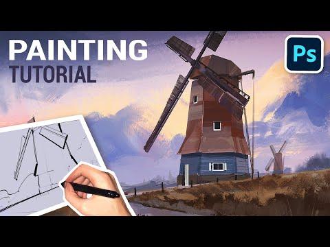landscape digital painting tutorial by victor staris