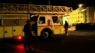 preview picture of video 'NEWARK FIRE DEPARTMENT LADDER TRUCK 5 SPARE RETURNING TO QUARTERS ON CLINTON AVE. IN NEWARK, NJ.'