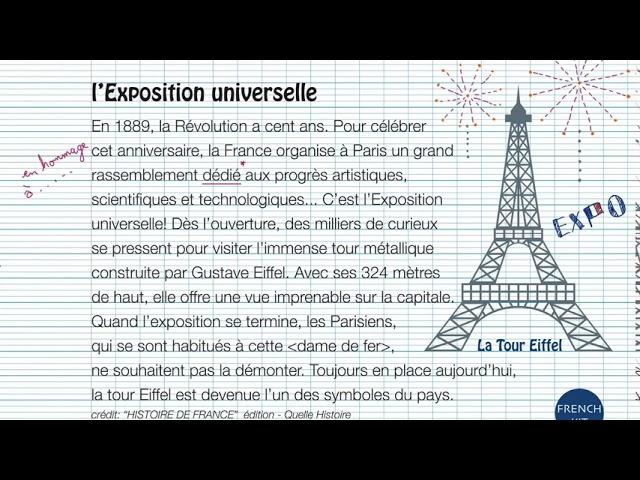 เรียนภาษาฝรั่งเศส - la Tour Eiffel - ฟัง อ่าน ภาษาฝรั่งเศสจากเรื่องสัพเพเหระ หอไอเฟล ปารีส