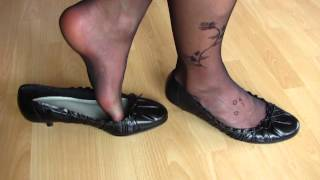 Kitten Heeled Pumps And Black Nylons  Shoeplay