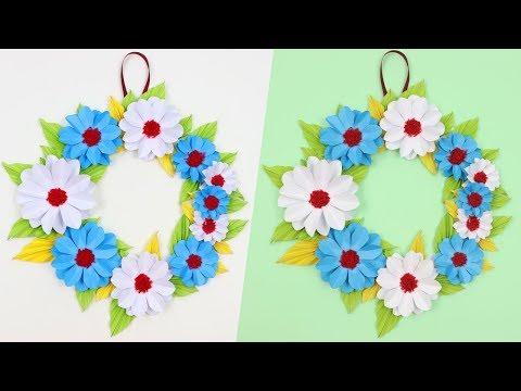 How to make paper flowerdiypaper crafthandicraftdisha handwork how to make easy beautiful paper flower wall hanging idea diy wall decoration ideas mightylinksfo