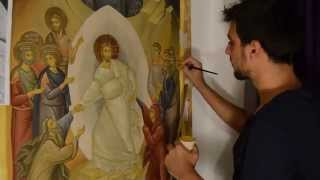 Painting demonstration Byzantine icon painted in acrylic on canvas