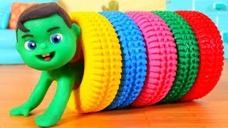 Kids Playing With Rainbow Color Tyres ❤ Cartoons For Kids