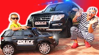 Super Baby Police man catch robber buy new police car ride on power wheel