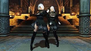 The Elder Scrolls V: Skyrim Demonica & Eva NDT и танцы в Скайриме