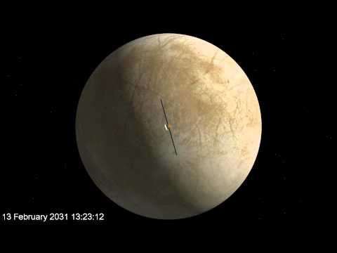Flyby of Jupiter's moon Europa by the JUICE spacecraft in 2031