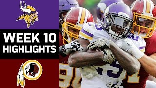 Vikings vs. Redskins | NFL Week 10 Game Highlights