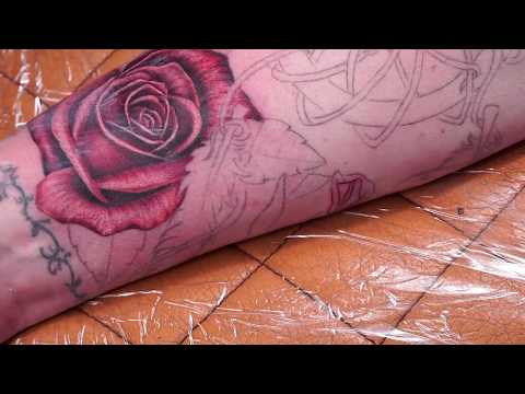 realistic tattoo of a rose by david fomin