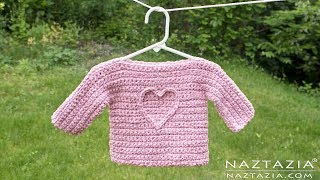 HOW to CROCHET an EASY BABY SWEATER Tutorial