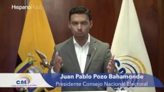 El presidente del CNE ecuatoriano llamó a los electores a participar en la segunda vuelta