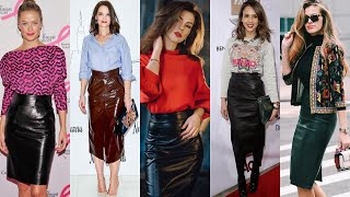 Most Stylish&trendy Faux Leather Vinyl Leather Pencil Skirts#how To Style Pencil Skirts Outfits Idea