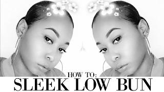 How To: Sleek Low Bun On Short/Thick Natural Hair | Using Marley Hair | Kinzey Rae
