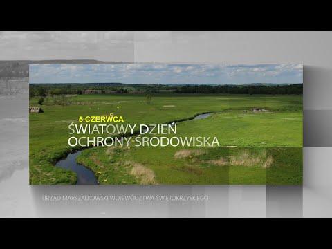 Napis 5 czerwca - Światowy Dzień Ochrony Środowiska. W tle krajobraz Ponidzia. Zielone łąki, przepływająca rzeka - widok z lotu ptaka.