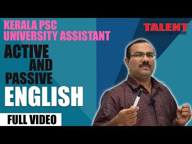 Kerala PSC English Grammar - Active and Passive Voice - Full Video
