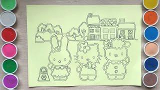 Tô màu tranh cát khổng lồ HELLO KITTY và bạn Thỏ, Cừu - Coloring Hello Kitty - Đồ chơi Chim Xinh