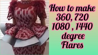 HOW TO MAKE 360, 720, 1080 AND 1440 DEGREE PEPLUM FLARE || 720 DEGREE FLARE|| 1440 DEGREE FLARE