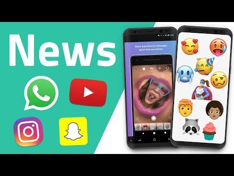 YouTube Stories, Instagram Messenger, Emojis 2018, WhatsApp News und Snapchat Update