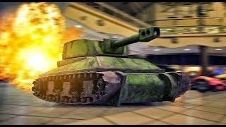 World's First Drifting Tank Wrecks Mall! In 4K!
