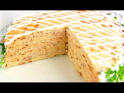 Блинный торт с курицей и грибами /Рецепт тонких блинчиков