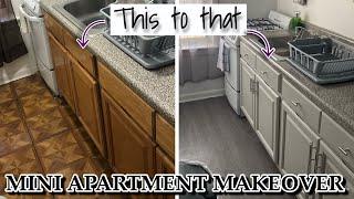 Mini Rental Apartment Makeover: PEEL AND STICK TILES, PAINT, CONTACT PAPER | Rebecca Raquel