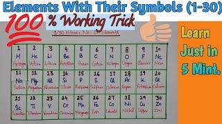 Learn Atomic No. 1-30 Elements | Elements With Symbols | Short Trick | Tricks & Clicks