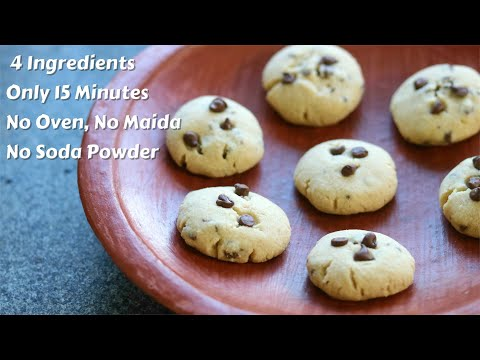 No Maida – No Oven – No Eggs – No Butter – Eggless Choco Chips Cookies Without Oven In 15 Minutes