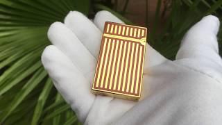 Bật lửa Dupont mẫu mới 2018 hoa văn sọc dọc vàng đỏ mã D123   Deva.vn   Giá 650.000 Đ