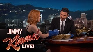 """Jessica Chastain and Jimmy Kimmel Eat the """"Bleu Cheese of Fruit"""""""