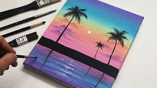 Rainbow Sunset Landscape | Daily Challenge | Easy Art | Abstract Acrylic Painting Tutorial