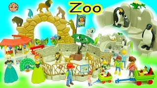Disney Frozen Queen Elsa + Princess Anna Go To Playmobil Animal Zoo - Toy Video