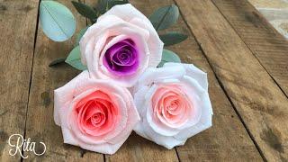 Crepe Paper (mix Color) Rose Tutorial | Làm Hoa Hồng Giấy Nhún 2 Màu | Rita Handmade