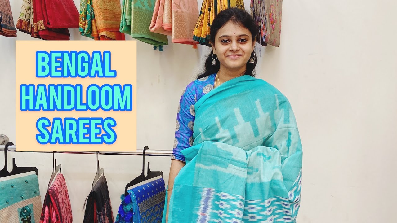 "<p style=""color: red"">Video : </p>Bengal Handloom Sarees Available In Haritha SareesWeaving of tant sari is famous and an age old crafting of Bengal. The craftsmen deftly weave the cotton to thread which is woven to tant sari. Two shuttles are ... 2021-01-13"