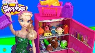 Queen Elsa Disney Frozen Fever Barbie Doll Refrigerator Shopkins Season 2 12 Pack Unboxing