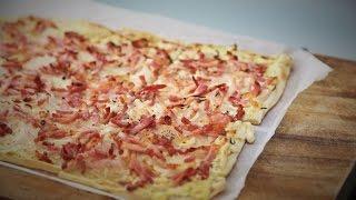 Tarte Flambee – The Cream Bacon and onion Alsatian pizza