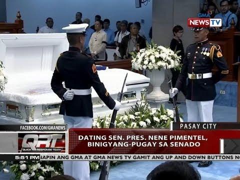 [GMA]  QRT: Dating Sen. Pres. Nene Pimentel, binigyang-pugay sa senado
