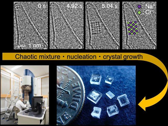 Удивительный процесс кристаллизации соли из отдельных атомов удалось снять на видео