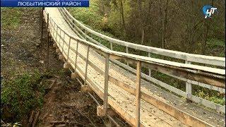 В деревне Никольское Любытинского района построен подвесной мост