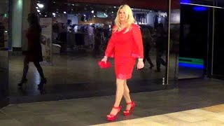 Tgirl Lady In Red In The Mall (HD) Matty Caff Crossdresser Transvestite
