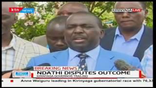 Kirinyaga Governor Joseph Ndathi disputes the Jubilee primaries claiming election malpractice
