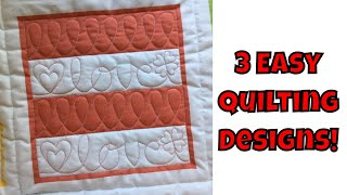 Three Easy Machine Quilting Designs - Beginner Quilting Tutorial With Leah Day