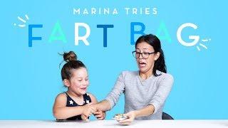 Marina Tries a Fart Bag | Kids Try | HiHo Kids