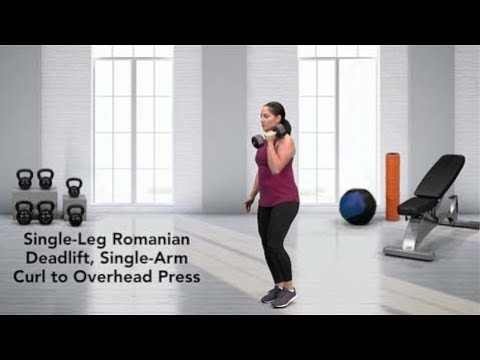 Single-Leg Romanian Deadlift, Single-Arm Curl to Overhead Press