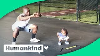 Toddler breaks a sweat with dad