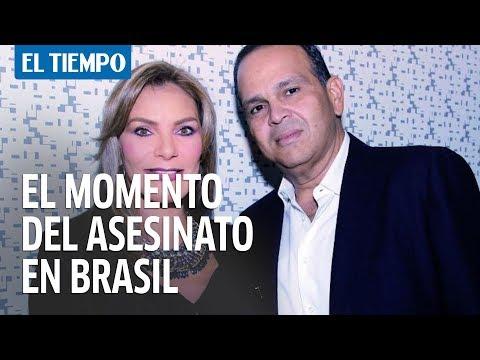 El momento del asesinato del esposo de María Monica Urbina en Brasil