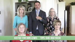 Justice for Don Lewis ad as aired in Tampa during Dancing with the Stars